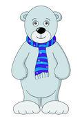 Orsacchiotto bianco in una sciarpa — Vettoriale Stock