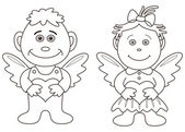 Girl and boy angels with hearts, contours — Stock Vector