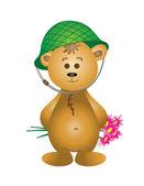 Ours en peluche dans un casque avec un bouquet — Vecteur