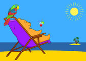Teddy bear in a chaise lounge on a beach — Stock Vector