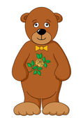Teddy bear with flower — Stock Vector