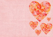 Heart with leaves on a canvas — Stock Photo