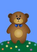 Teddy bear on a flower meadow — Stock Vector