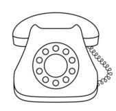 Phone dial desktop, contour — Stock Vector