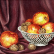 Apples and nuts - Foto Stock