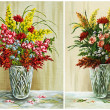 Flowers in a crystal vase, set - Stock Photo