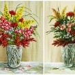 Stock Photo: Flowers in crystal vase, set