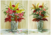 Flowers in a crystal vase, set — Stock Photo