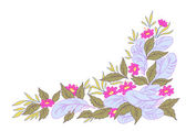 Blumen, blätter und federn — Stockfoto