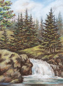 Mountain river with falls — Stock Photo