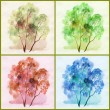 Water colour, trees - Stock Photo