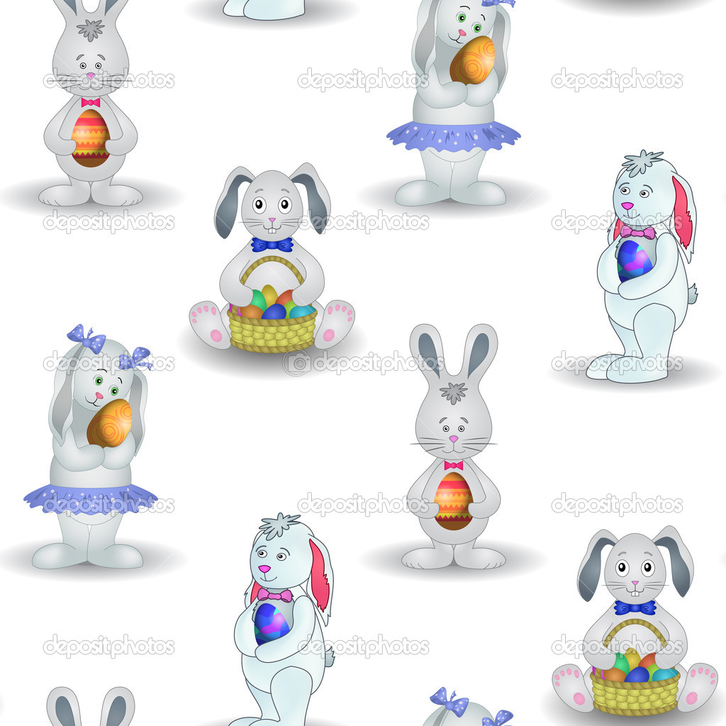 Vector seamless background, Easter rabbits with eggs — Stock Vector #5026934