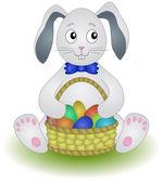 Rabbit with basket eggs — Stock Vector