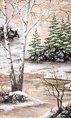 Winter Siberian landscape — Stock Photo