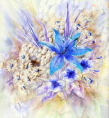 Flowers, watercolor — Stock Photo