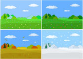 Landscape, four seasons — Stock Vector