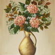 Stock Photo: Dahlias in clay jug