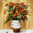 Stock Photo: Marigold in ceramic pot