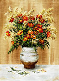 Marigold in a ceramic pot — Stock Photo