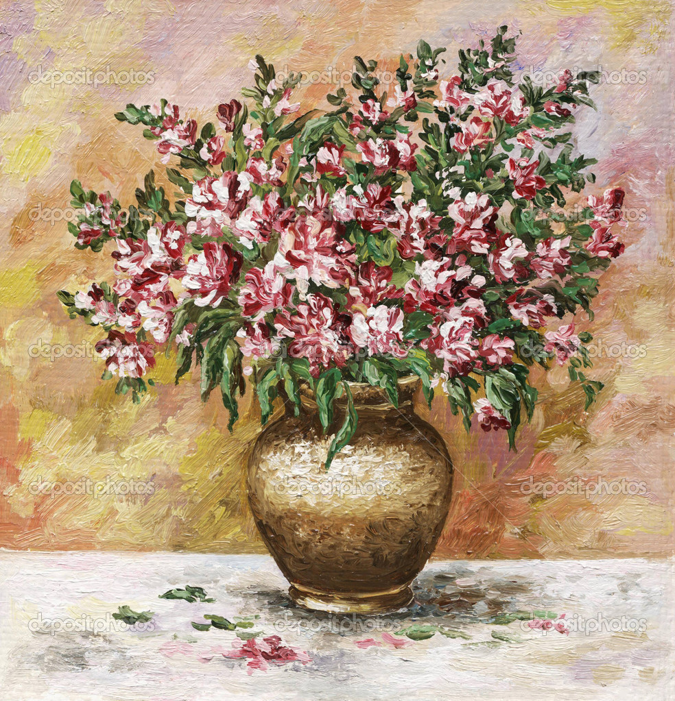 Picture oil paints on a canvas: bouquet of freesia in a clay pot — Stock Photo #5357553