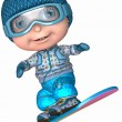 Cute Snowboard Kid — Stock Photo