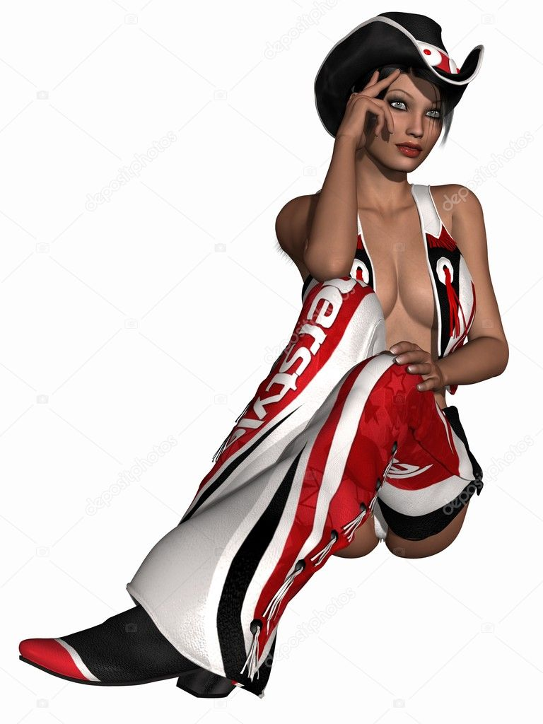 3D Render of a Sexy Cowgirl   Stock Photo #4247700