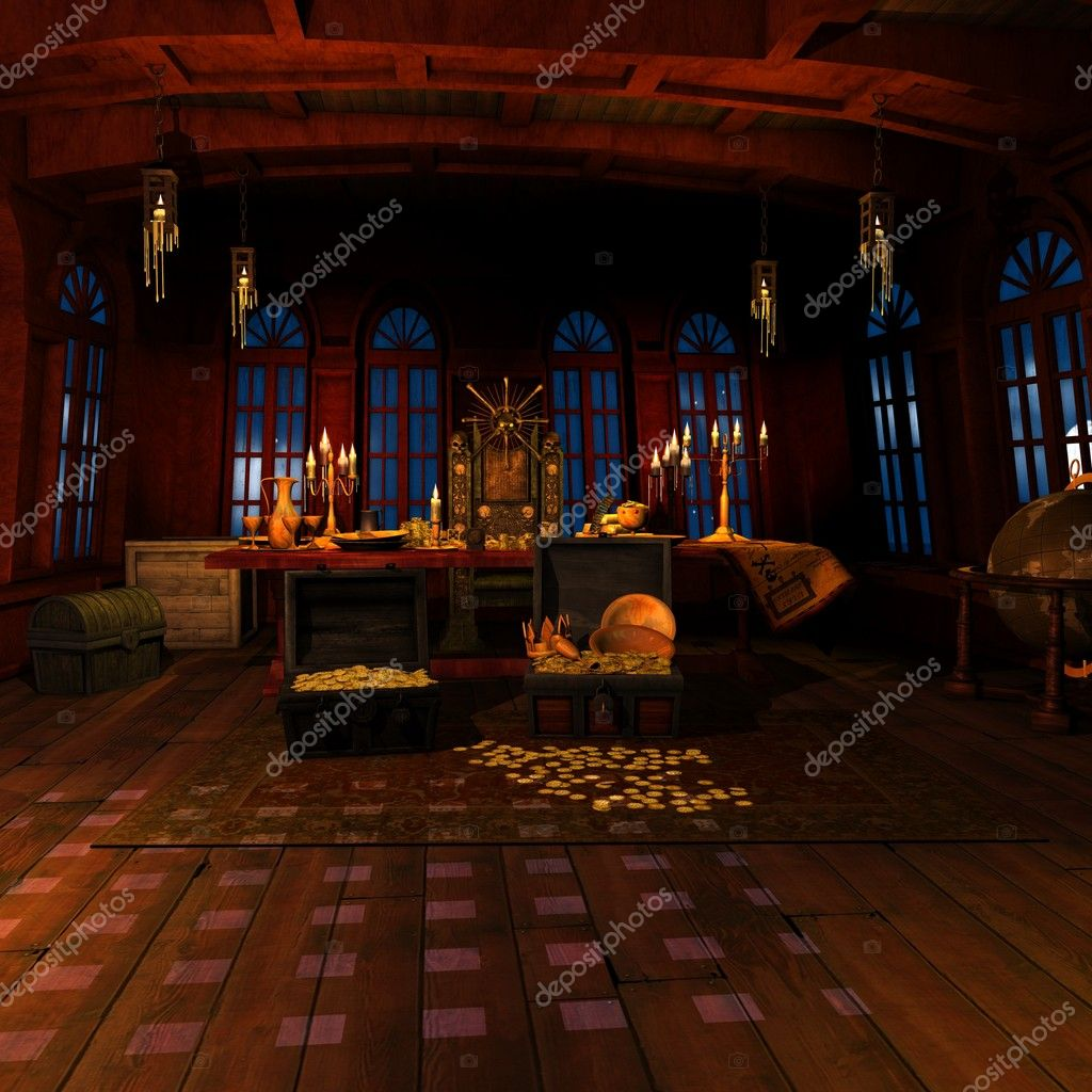 3D Render of a Pirate Captains Cabin  — Stock Photo #4247769