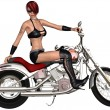 Sexy biker girl and her bike — Stock Photo