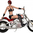 Sexy biker girl and her bike — Stock Photo #5166518