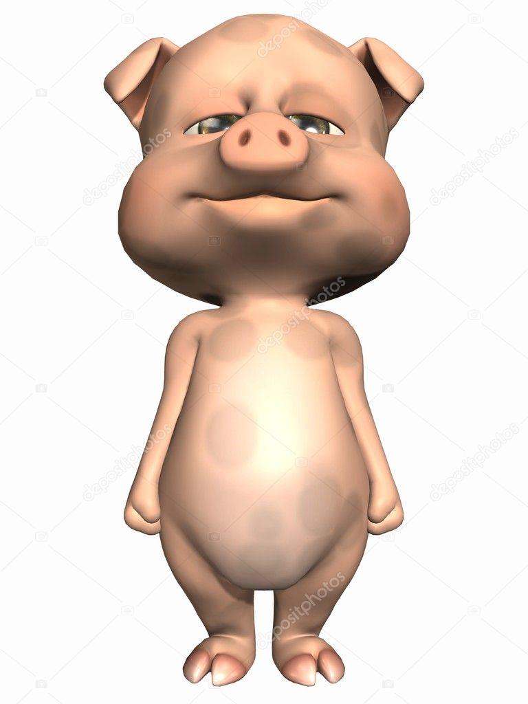 呈现器的可爱的宠物猪
