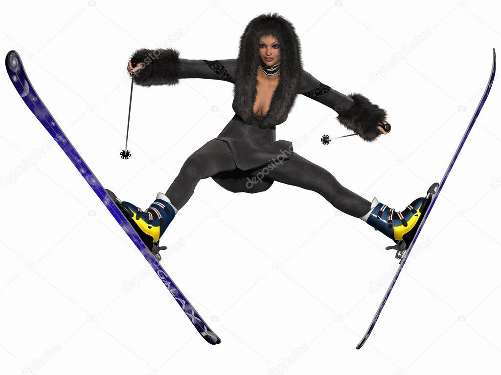 3D Render of a Sexy Skibunny   Stock Photo #5172204