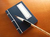 Chinese book and writing brush — Stockfoto
