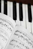 Music sheet and piano — Stock Photo