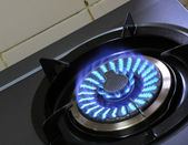 Fire of gas stove — Foto Stock