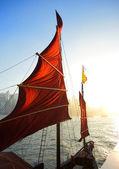Sailboat flag in Hong Kong harbor — Stock Photo