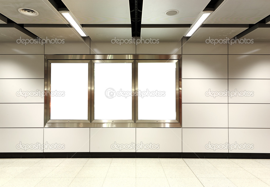 Blank billboard in metro station  Stock Photo #4477225