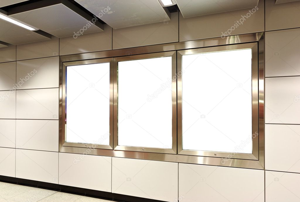 Blank billboard in metro station — Stock Photo #4623488