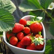 Strawberries in heart shape bowl — Stok Fotoğraf #4840442