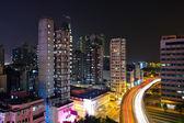 Provoz v noci v hong kongu — Stock fotografie