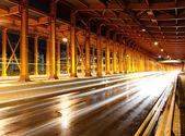 Tunnel med bil ljus — Stockfoto