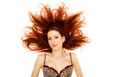Woman with red hair splayed — Stock Photo