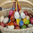 Basket with eggs — Stock Photo