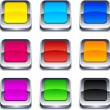 Stock Vector: Square 3d buttons.