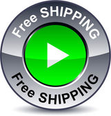 Free shipping round button. — Stock Vector