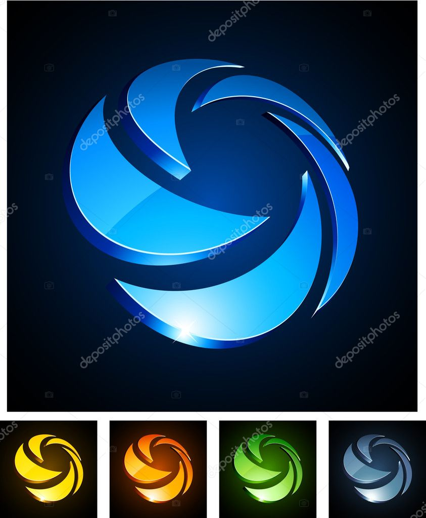 Vector illustration of 3d rotation symbols.  — Stock Vector #4108177