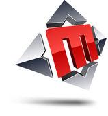 M 3d letter. — Stock Vector