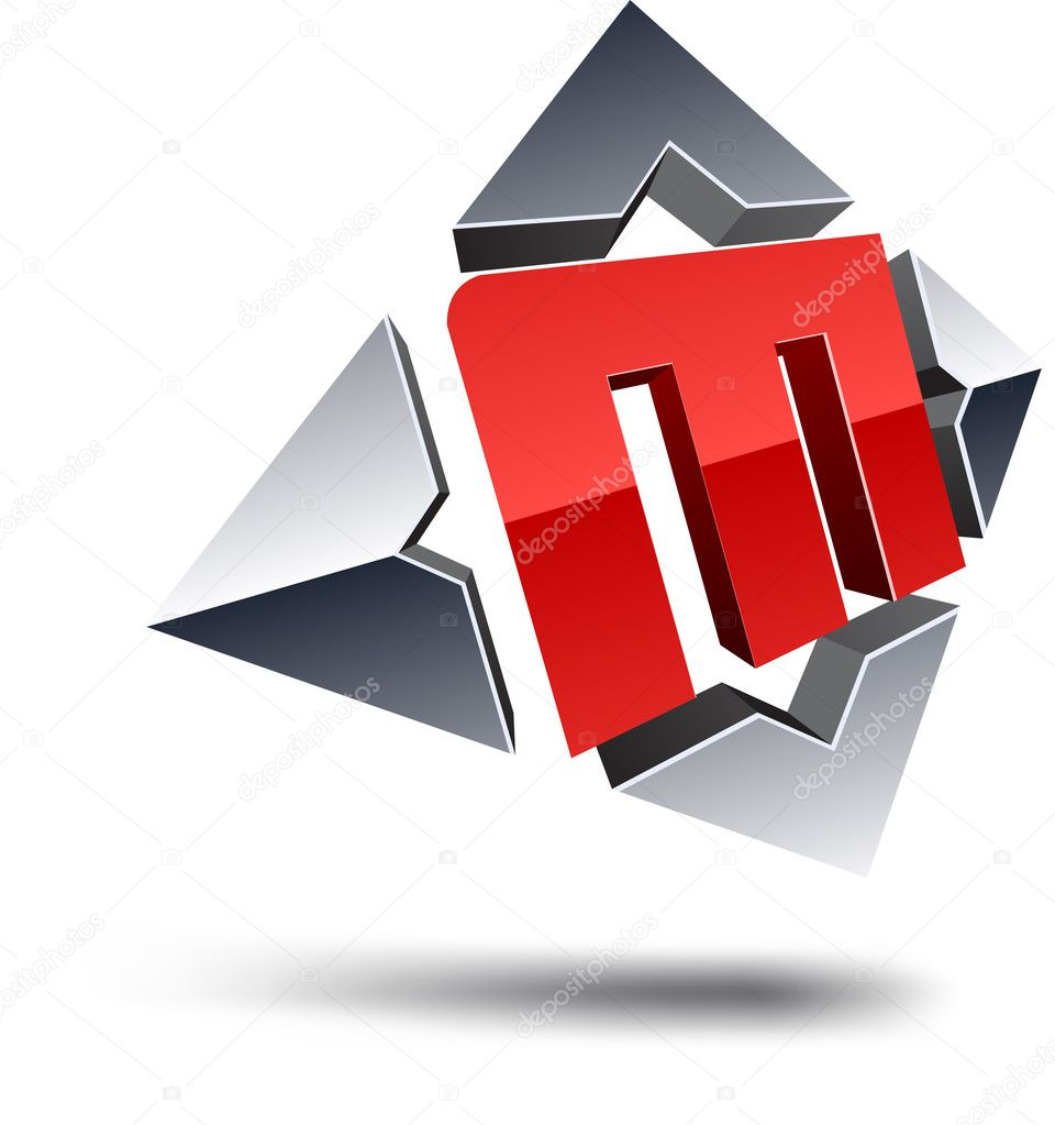 Illustration of M 3d design element. — Vettoriali Stock  #4968108