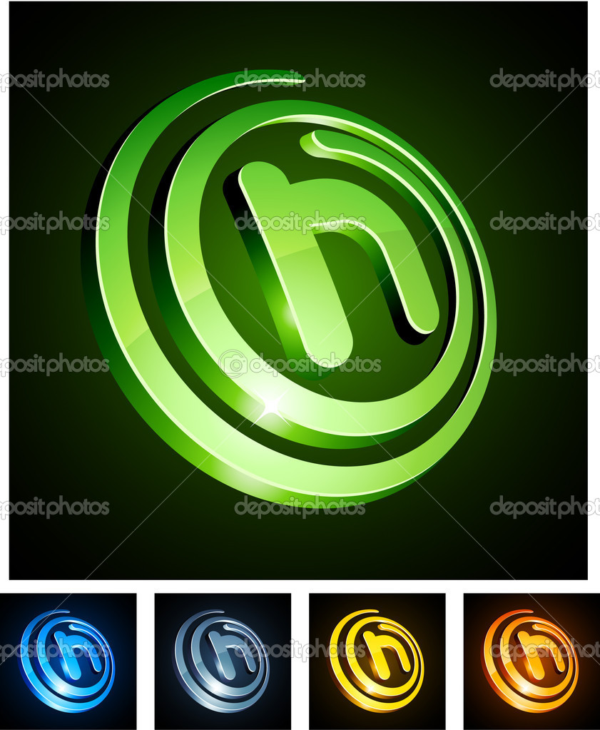.Vector illustration of h shiny letters. . — Stock Vector #4968200