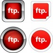 Stock Vector: FTP button set.