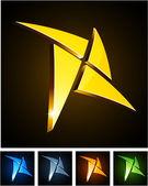 Color vibrant star emblems. — Stock Vector